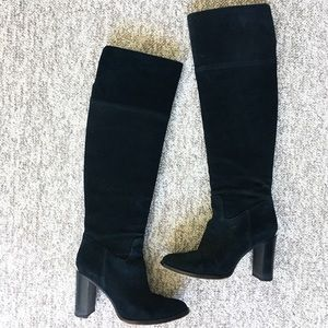 MICHAEL KORS black suede over the knee heeled boot